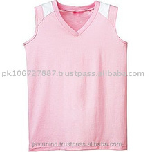 light pink baseball sleeveless jersey for ladies top quality fabric