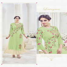 Green Color Georgette Embroidered Straight suit