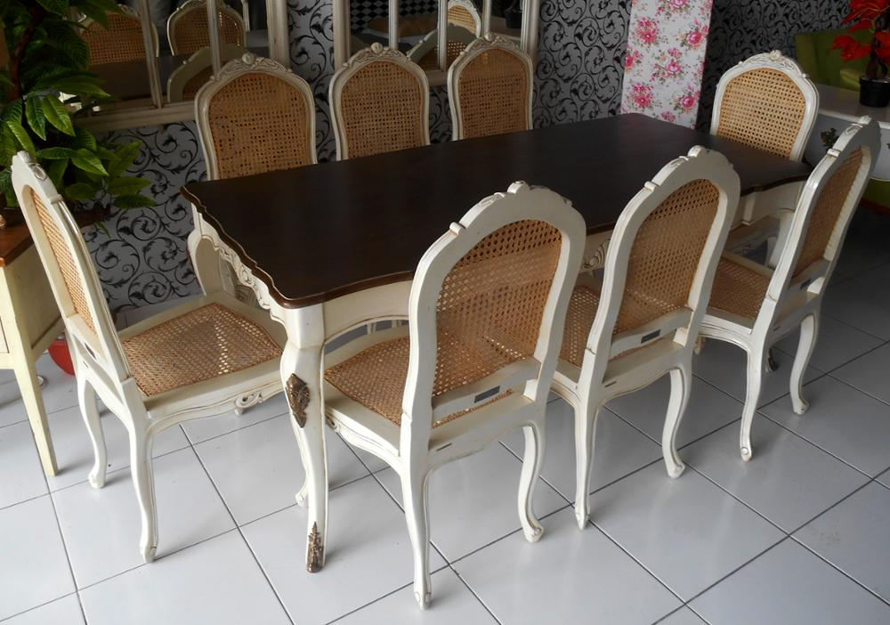 Wooden Home Furniture : Vintage Dining Set 8 Chairs Furniture French Style