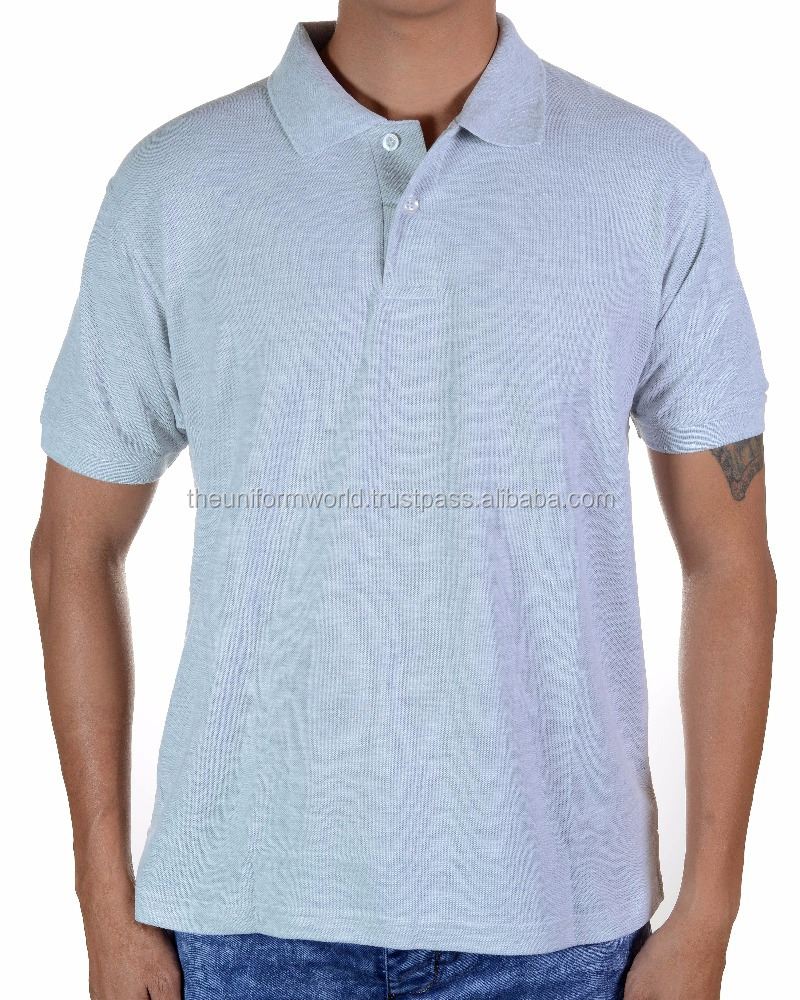 Plain Blank Polo T Shirt Bio Washed Pique Light Grey Color for Unisex, Men and Women Fitting