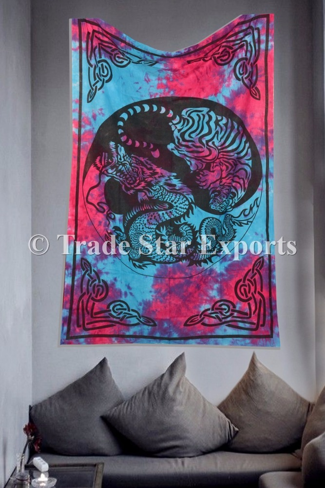 Yin Yang Tapestry Tiger Dragon Wall Hangings Indian Cotton Tie Dye Wall Decor Art Tapestry