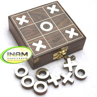 Beautiful brass inlay work sheesham wood box for Tic Tac Toe game set with 5 rings and 4 crosses