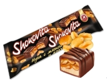Chocolate bar SHOKOVITA with nougat, soft caramel and peanut 40g