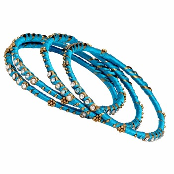 Jaipur Mart Gold Plated Turquoise Color Glass Stone Bangles Set PLKB288-2.6