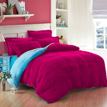 3PC Classic Collection Reversible Sky Blue & Magenta US Twin Size Velvet Duvet Cover Set