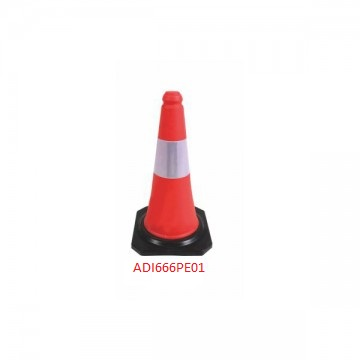 PE TRAFFIC CONE / RED COLOR TRAFFIC CONE 750MM AND 1000MM SIZE WITH RUBBER BASE AND INTERLOCK DESIGN