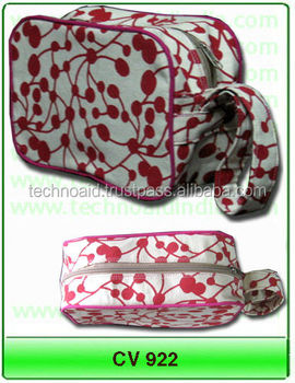 100% cotton canvas cosmetic bags with or without artwork / logo printing