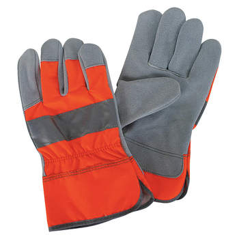 Orange Colored Leather Palm Working Gloves
