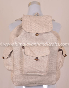 SIMPLE NEUTRAL COLOR RECYCLED BOHEMIAN FASHIONABLE HEMP SHOULDER BACKPACK BPK -0028