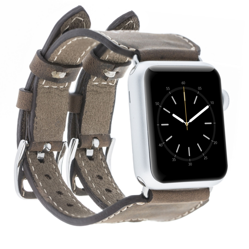 Luxury design genuine leather Ark style bands for apple smart watch 38mm / 42mm with adapter