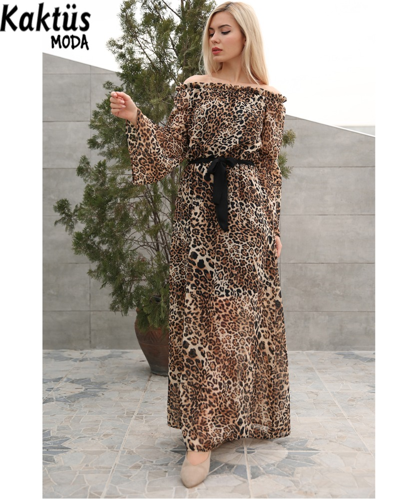 2018 New Style Spring Or Summer Long belted maxi Leopard chifon Dress With long Sleeve for ladies and women