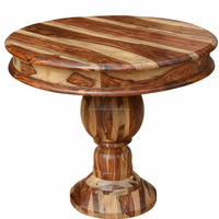 Modern Style Solid Sheesham Wood Four Seater Single Leg Round Dining Table