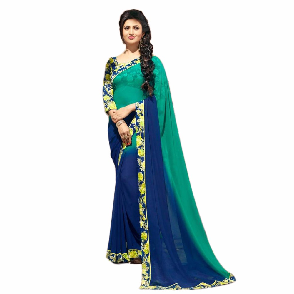 Indian Fashion Beauty Green Georgette Women's Saree