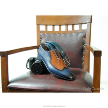 Italy Style Men Dress Shoes Double Colour Blue Taba Darkblue With Brown
