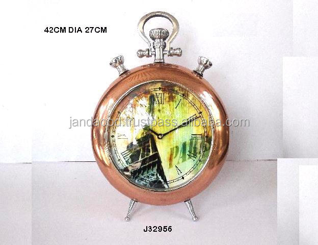 Round cast Aluminium table clock in copper finish available in brass finish also