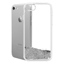 Best Selling Mobile Phone Clear Transparent TPU Wallet Case for iPhone 8 7 6s 6 Plus with Silver Liquid Glitter Wholesale