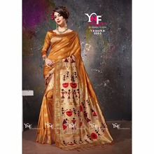 Designer Kalamkari print pallu party wear saree
