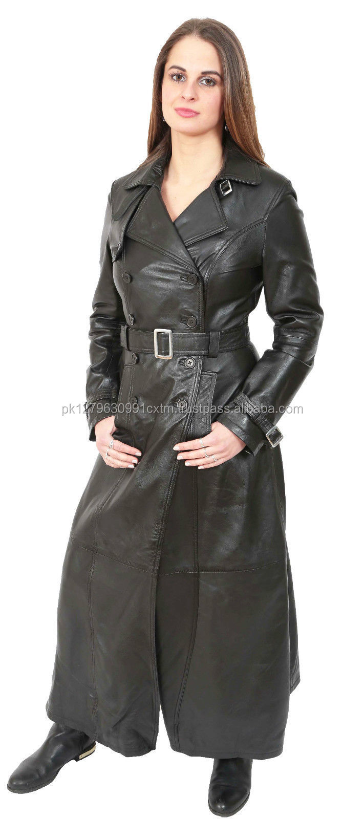 New Womens Long Black Leather Coat Liv Full Length Double Breasted Trench Jacket