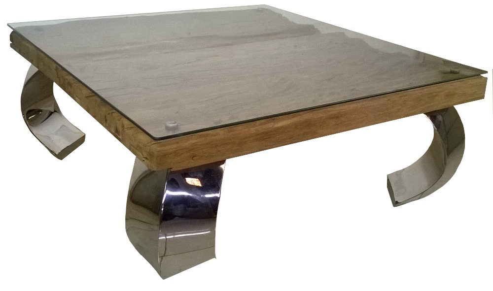 Stainless Coffe Table with Recycle wood