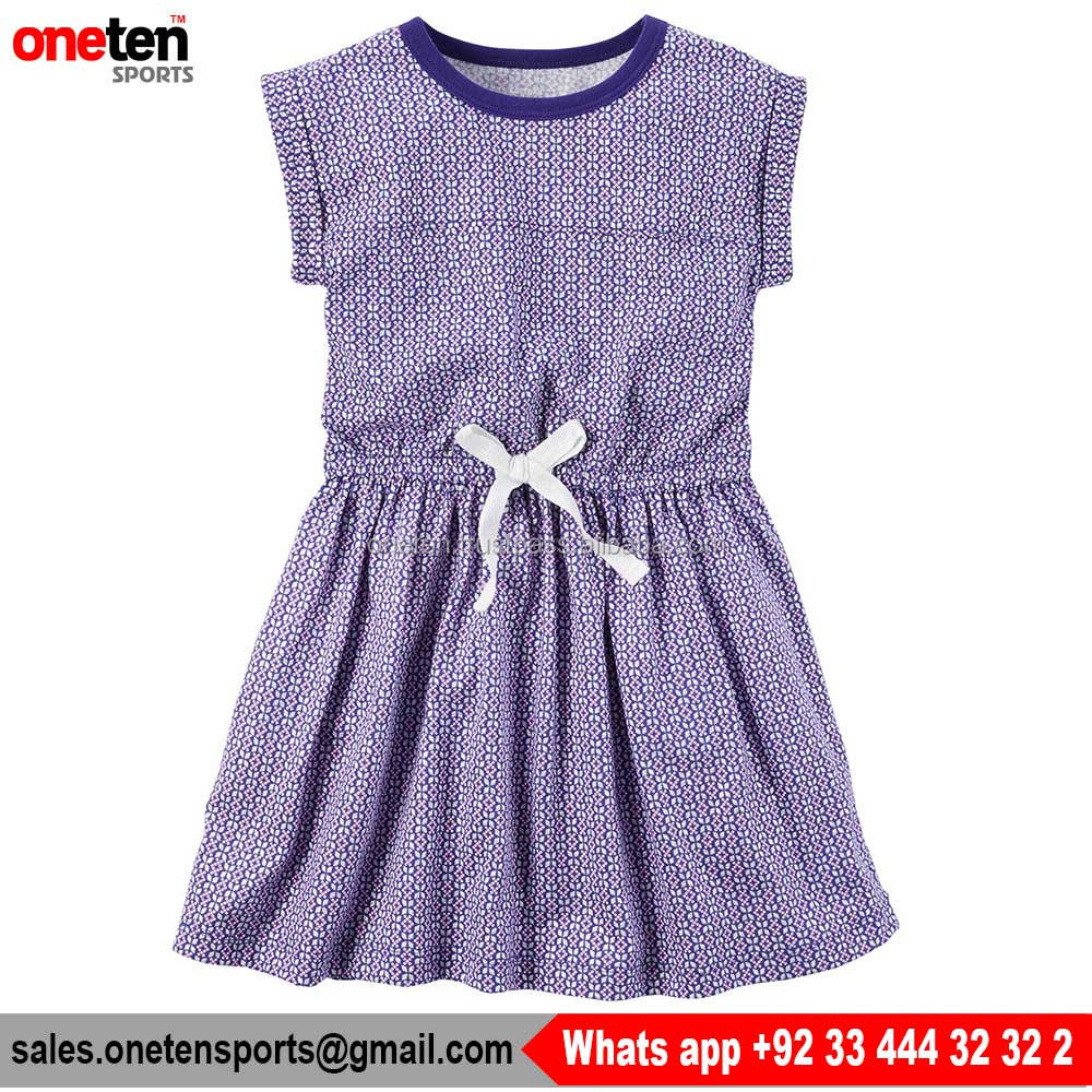 Short Sleeves Cinched Waist Print Ribbed Neckline 100% cotton Girl Dress