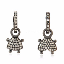 0.47 ct Pave Diamond 925 Sterling Silver Handmade Drop Earring Gift Jewelry