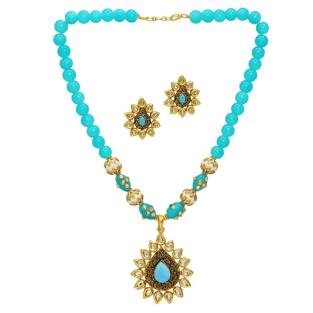 Jaipur Mart Gold Plated Firozi Color Colored Glass Stone, Color Beads, Pearl Necklaces With Earrings