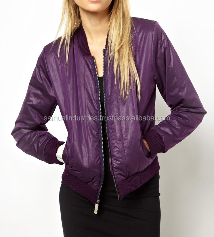 Purple Nylon Ladies Bomber Jacket\Women's Quilted Jackets\Girls Slim Fit Short Baseball Varsity Jacket