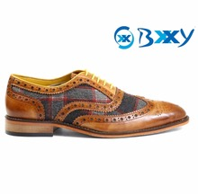 MEN'S STYLISH TAN LACE-UP FORMAL FULL BROGUE OXFORDS DRESS SHOES ON LEATHER SOLE