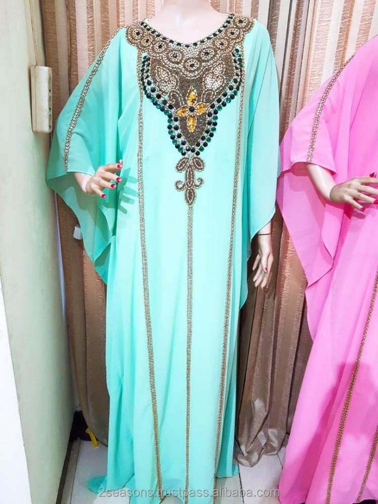 Beautiful Beaded Kaftan Maxi Dress Jalabiya