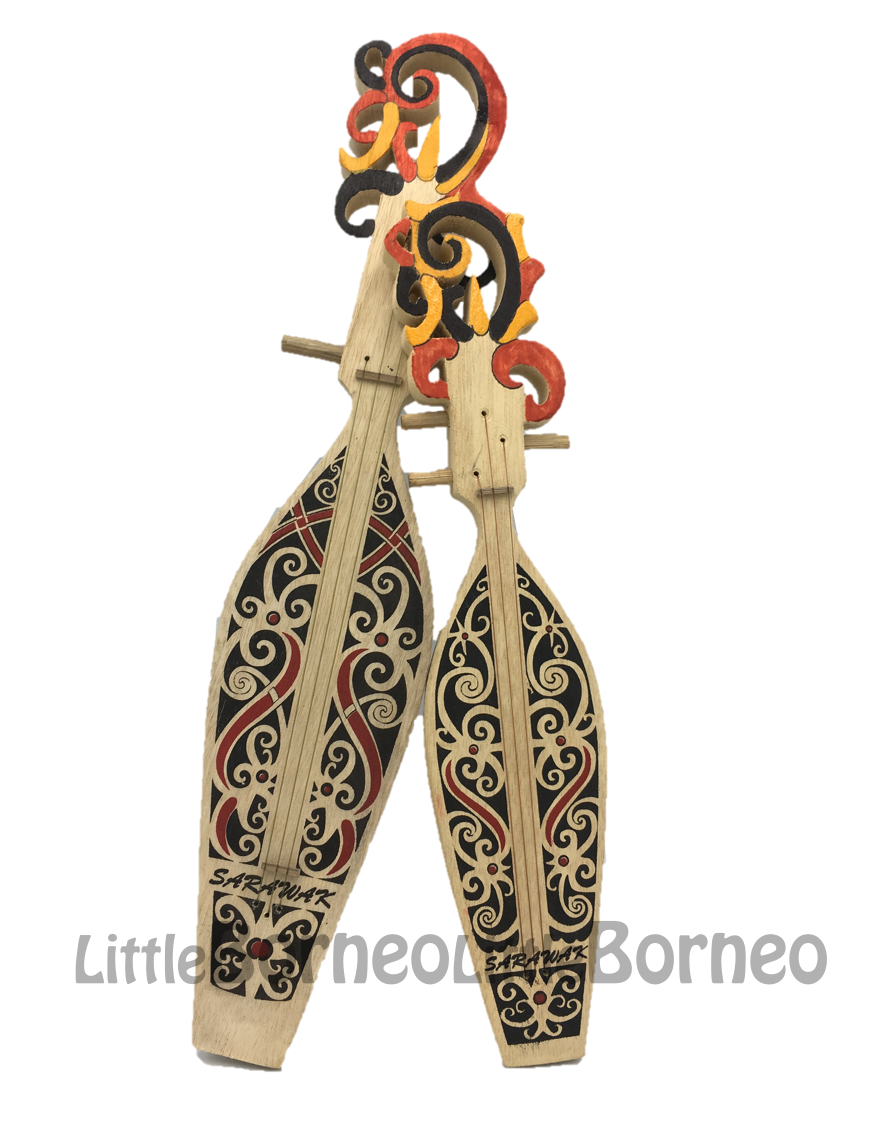 Sape with Top Painted Motif (Miniature) | Home Decorative Item | Traditional Musical Instrument | Borneo Wood Craft | Tribal