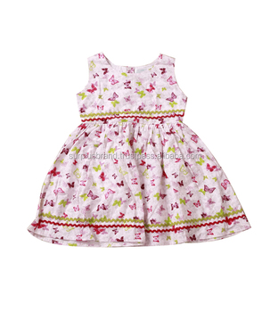 2017 latest frock design wedding children dress with butterfly printed