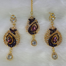 Traditional Wedding Bridal Purple Stone Crystal Gold Plated Drop Maang Tikka With Earrings Set