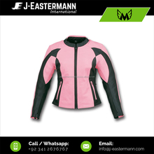 Hot New Design Ladies Pink Black Short Length Genuine Leather Motorbike Jacket, CE Armored Black Pink Women Motorcycle Jacket