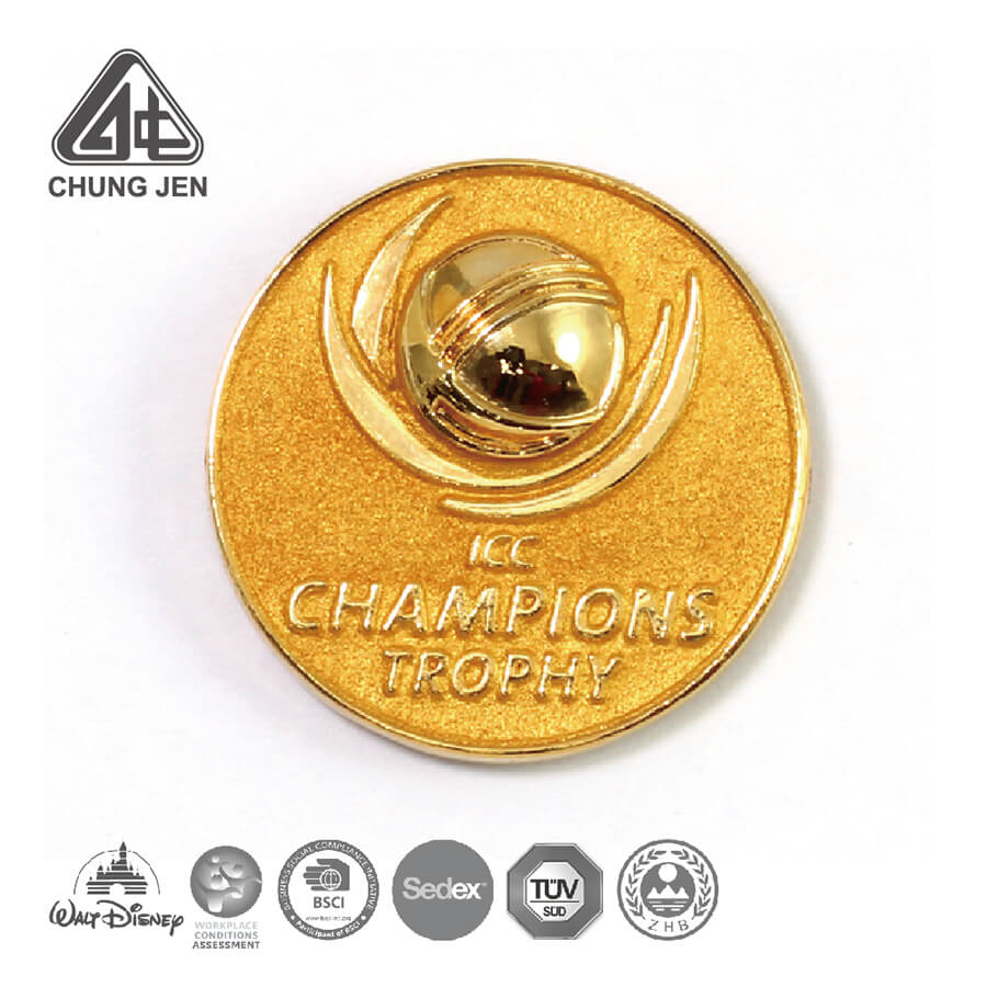 Embossed Champions Trophy Gold Powder Pin Badge
