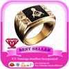18K Electroplated Pure gold with Diamond Mason Ring