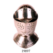 ANTIQUE MEDIEVAL ARMOR HELMET CLOSED