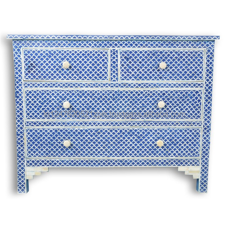 Blue Fish Scale Bone Inlay Chest of Drawers