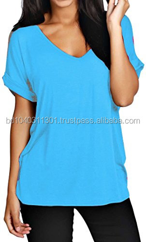 Womens Oversize Fit V Neck Top Ladies Baggy Plus Size Batwing Casual T Shirt