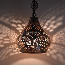 Small Pear Moroccan Hanging Lamp Made of Metal Hand Made Turkish Lamp