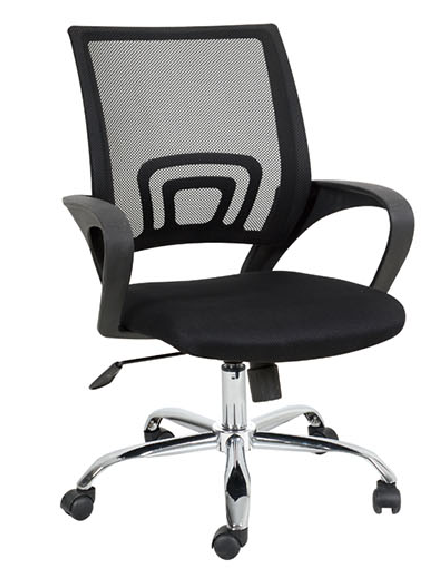 Ergonomic Mesh fabric Computer Office Desk Midback Task Chair w/Metal chrome Base, adjustable height swivel office chair black