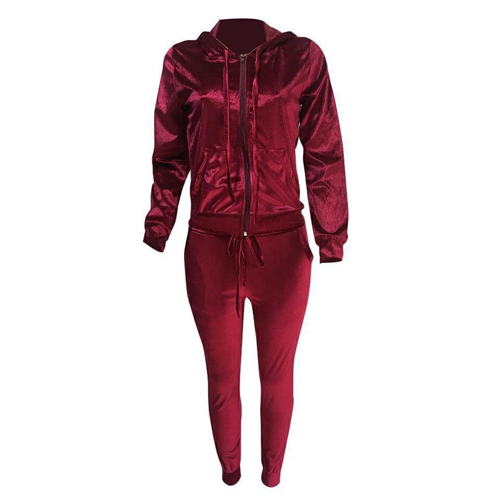 Women Velvet Tracksuit Jogging Gym Suit
