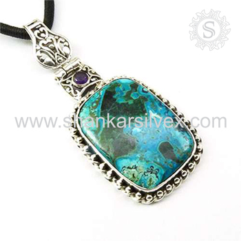 Graceful multi gemstone pendant handmade jaipur 925 sterling silver jewelry pendants manufacturer