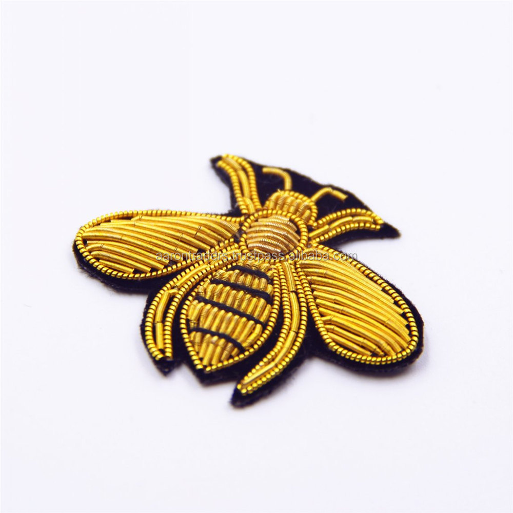 fashion animals cute bee brooches - hand embroidered bullion wire