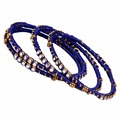 Jaipur Mart Gold Plated Blue Color Glass Stone Bangles Set PLKB287-2.6