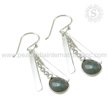 Heavenly blue labradorite gemstone earrings wholesaler silver jewelry 925 silver earrings supplier