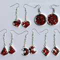 Earrings with Red Tropical Amazon Huayruro Seeds Jewelry Wholesale