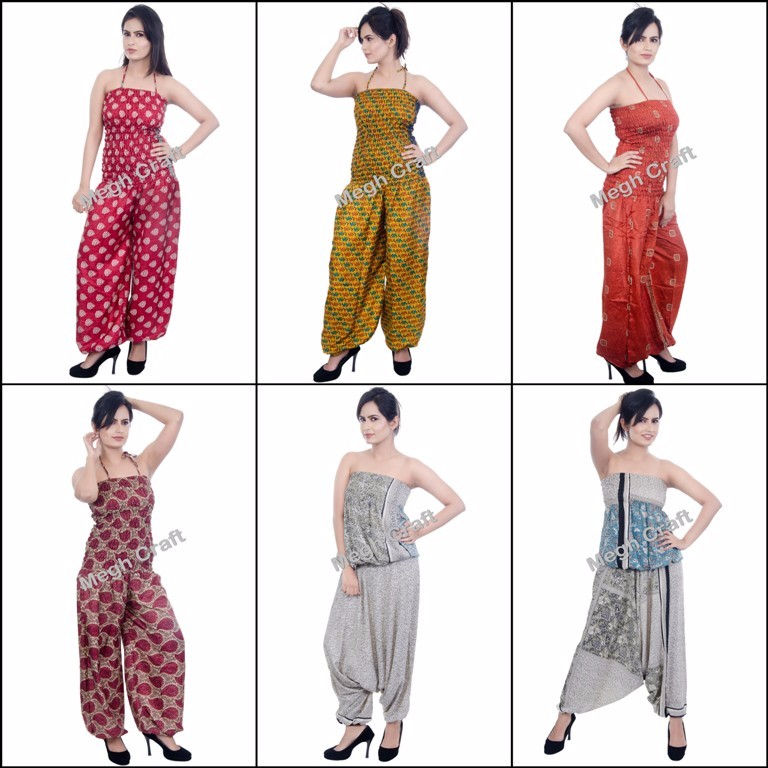 Fashion Luxury silk jumpsuit- Hand painted harem jumpsuit -Fashion Luxury Print jumpsuit -women jumpsuit casual fashion Wear