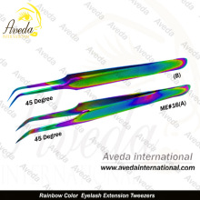 Rainbow Colors Stylish Extra Fine Pointed Eyelash Extension Tweezers / Pointed Eyelah Extension Tweezers Italy