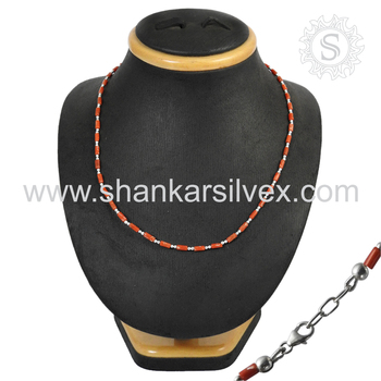 Pleasing red coral gemstone necklace handmade silver jewelry 925 sterling silver necklaces jewellery wholesaler