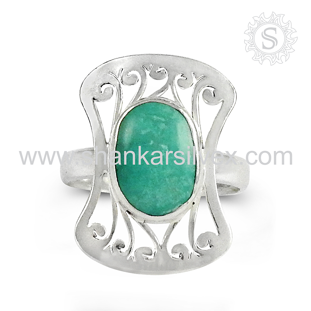 Gleaming design green onyx gemstone ring 925 sterling silver ring silver jewellery wholesale supplier